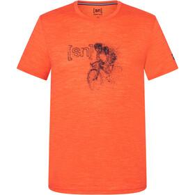 super.natural Road Bike Tee Men, tangerine tango melange/jet black